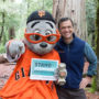 Giants mascot Lou Seal and League President Sam Hodder together at Big Basin Redwoods State Park. Photo by Mike Kahn, Save the Redwoods League