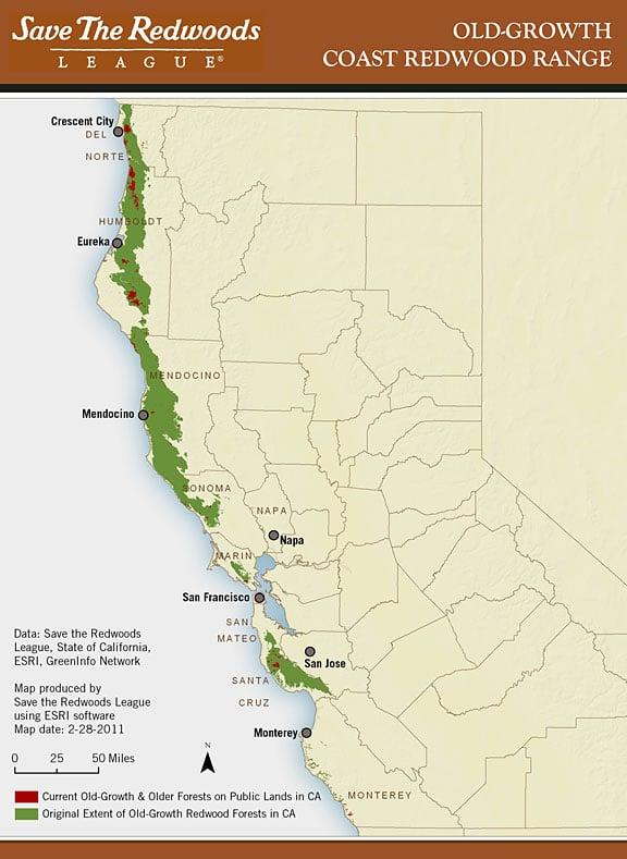 Coastal Redwoods Map