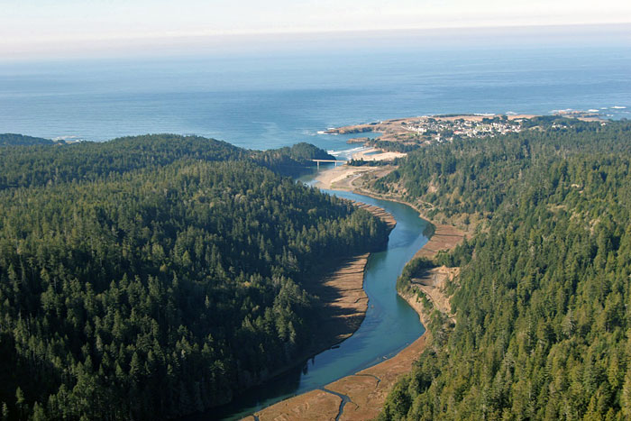You helped protect Big River-Mendocino Old-Growth Redwoods, pictured in the upper left, near the town of Mendocino in the upper right. Photo by birchardphoto.com