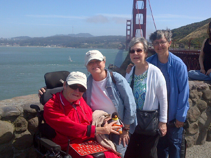 Betty Thompson and friends stop at the Golden Gate Bridge.