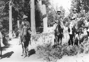 In this 1899 photo, Buffalo Soldiers in the 24th Infantry carried out mounted patrol duties in Yosemite. Photo courtesy of Yosemite Research Library