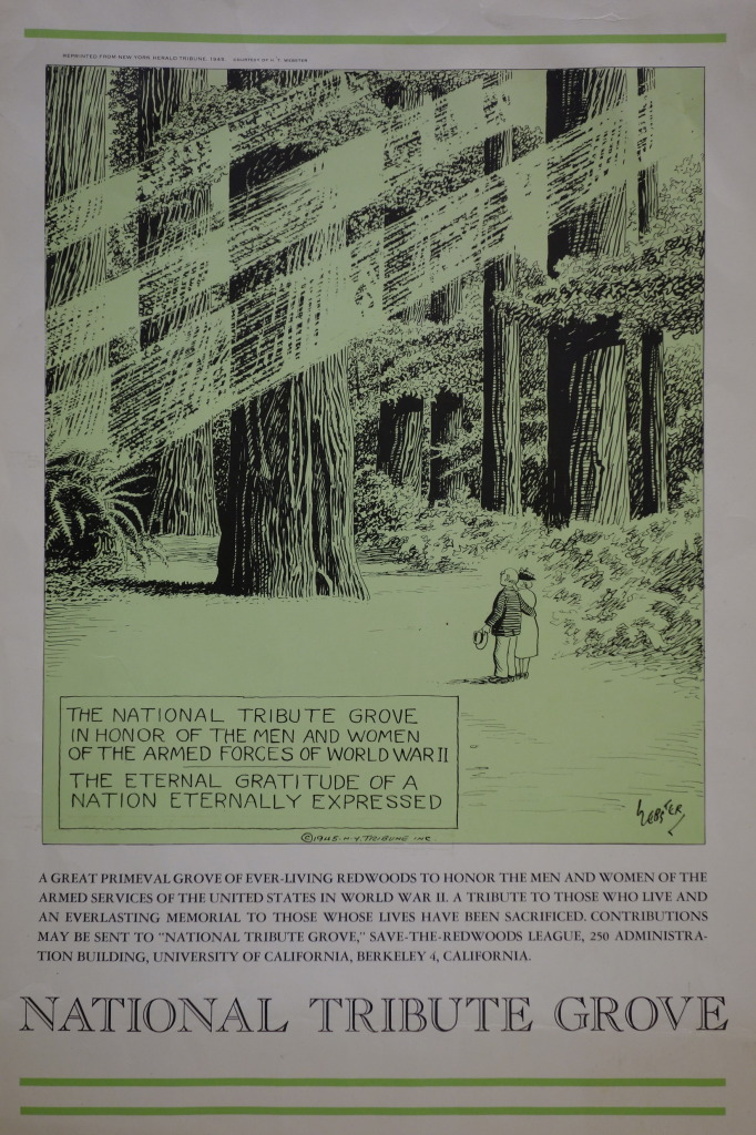 1945 National Tribute Grove poster created by H.T. Webster of the New York Tribune for the League's fundraising effort