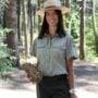 Interpretive specialist Jenny Comperda at Calaveras Big Trees State Park. Photo courtesy of California State Parks.