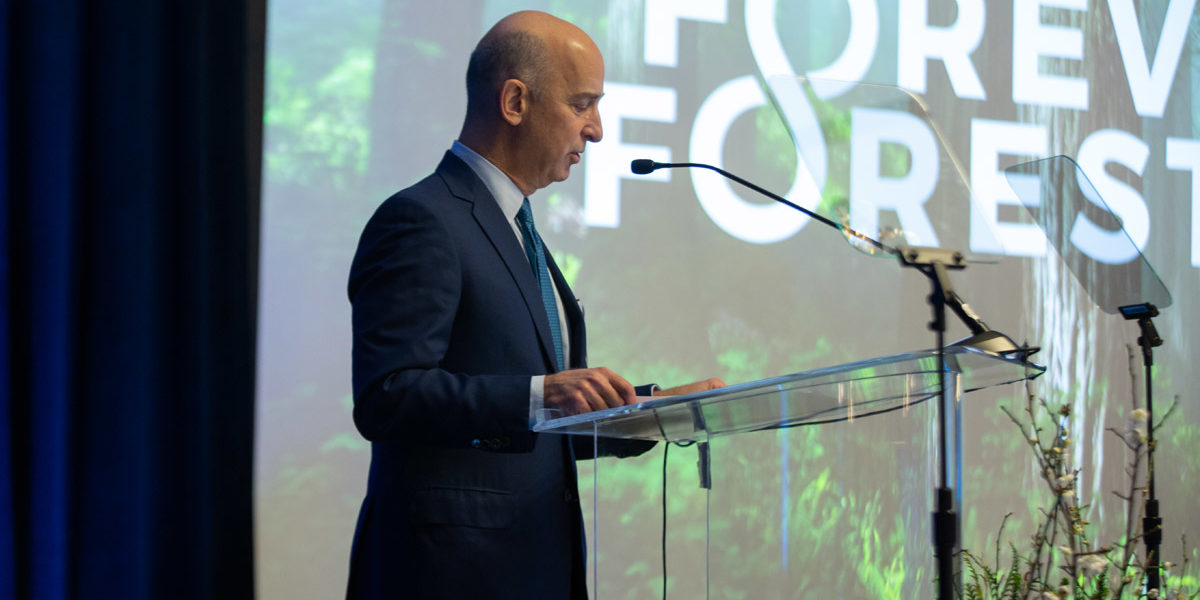 Matt Berler, Chair of the League's Board of Directors, welcomes guests to the January 30, 2020, Forever Forest Campaign launch event and shares the work that will be accomplished.  Photo by Orange Photography.