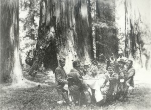 John D. Rockefeller Jr. and Newton Drury, Secretary of Save the Redwoods League, pictured here on the right, enjoy California's redwoods in 1926. Both men did a great deal to protect redwood forests.