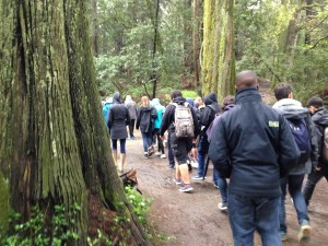Students hit the trail in the Oakland Hills as part of a redwood field trip with Save the Redwoods League.