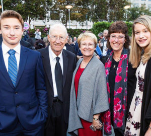 John and Cyndi Woollam (SECOND FROM LEFT AND CENTER), with their grandson Adam Rustermier (LEFT), daughter Cathy Rustermier, and granddaughter Ahna Rustermier