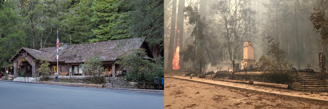 Visitor Center building burned to the ground after the fire