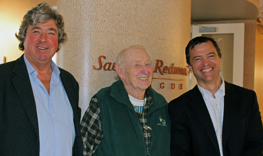 Dr. William J. Libby with Justin Faggioli, League Board Chair, and Sam Hodder, League President and CEO.