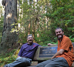 Steve Cheney and I enjoy a break on the Lawrence Merriam Memorial Grove bench on the Little Bald Hills Trail.