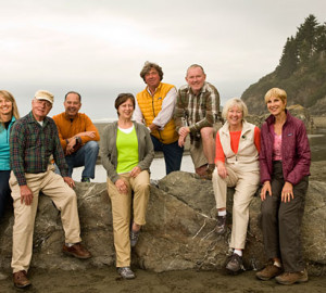 The Save the Redwoods League Board of Directors, from left: Melinda Thomas, Peter Frazier, James Sergi, Peggy Light, Justin Faggioli, Andy Vought, Mary Wright and Rosemary Cameron. Sam Livermore not pictured. Photo by Paolo Vescia