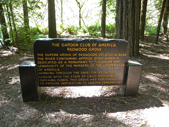 This sign in the GCA Day Use area recognizes the 'vision and generosity of the members of The Garden Club of America' for helping to 'provide inspiration to unborn generations.