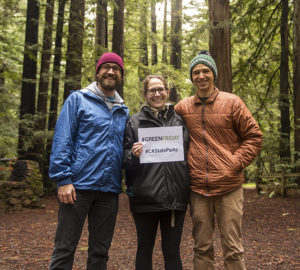 Left to right: Drew Hansen, Cassie Genter, Daniel Genter at #GreenFriday event at Samuel P. Taylor SP. Photo by Paolo Vescia