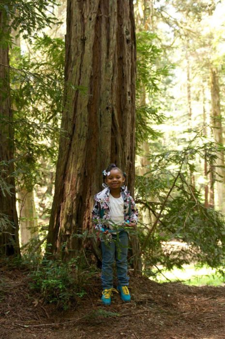 A young girl smiles at the camera as she enjoys exploring a redwood park. She is standing in front of a young redwood tree.
