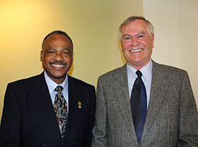 New California State Parks Director, Major General Anthony L. Jackson, USMC (Ret.), left, continues his organization's 90-year relationship with the League. He's pictured here with Jim Larson, League Board of Directors President.