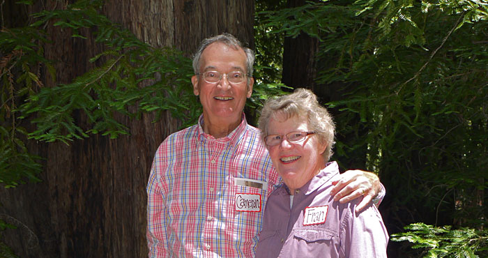 Fran Wolfe and her husband Cameron Wolfe enjoy the grove he dedicated to her in Pfeiffer Big Sur State Park.