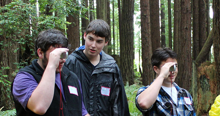 Arcata High School students measure tree height using a clinometer. Your support enabled them and others to explore forest stewardship careers. Photo by The Forest Foundation
