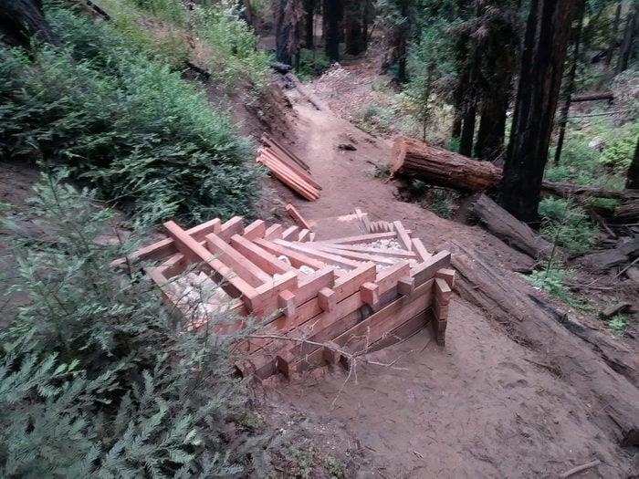 Construction of new steps on Pfeiffer Falls Trail. Photo by Jim Doran