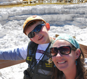 Education & Interpretation Manager, Deborah Zierten, with her nephew at Yellowstone National Park.